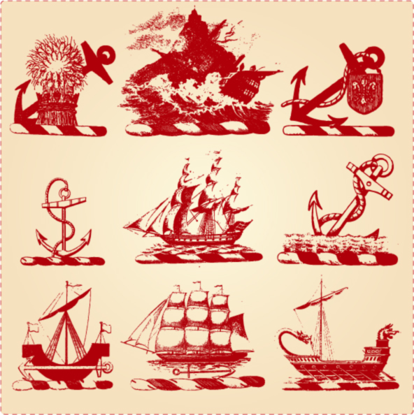 free vector Vessels and the classical language of classical vector background material